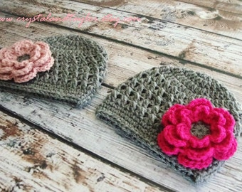 Baby Girl Twins Set of 2 Hats/Beanies in Gray, Light Pink, and Hot Pink, Newborn Hats, Baby Hats, Crochet Baby Hats