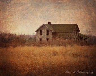 Abandoned,  House, Mustard, Grey, Cream, Rustic, Farmhouse, Yellow, Warm, Home Decor, Original Fine Art Photograph, Print