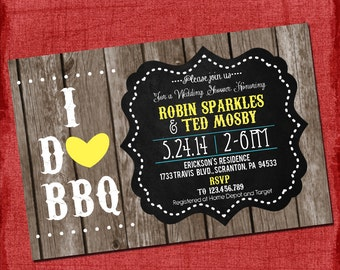 """Printable Country Rustic """"I Do"""" BBQ Barbecue Couples/Coed Wedding Shower Invitation-Choose your colors-DIY"""