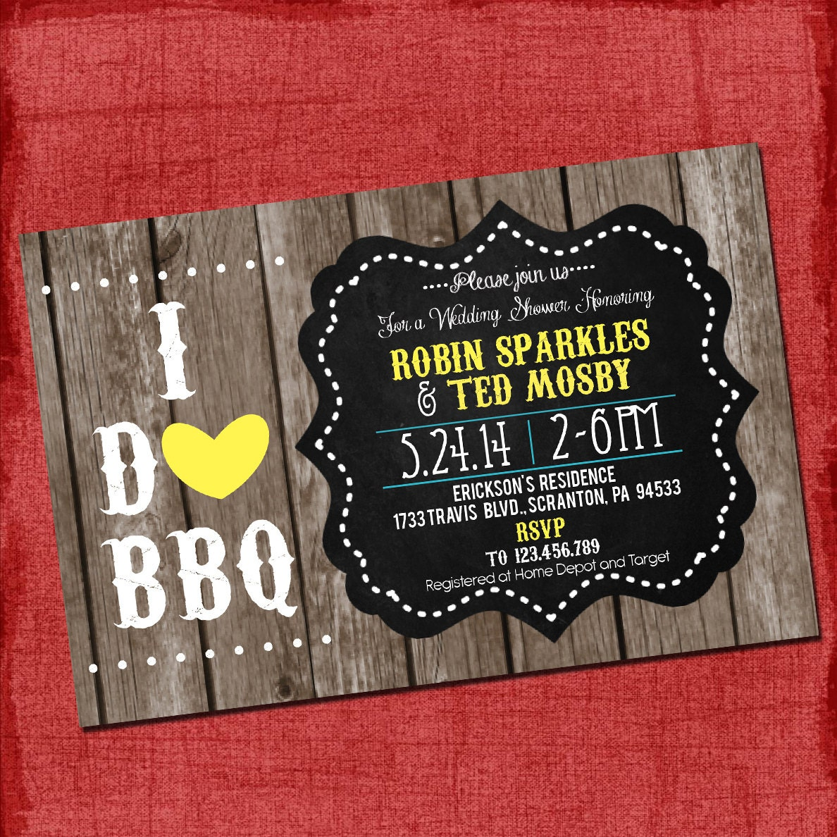 Printable Country Rustic I Do BBQ Barbecue Couples/Coed Wedding ...