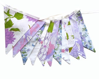 Vintage Retro Lavender / Pink / Lilac Floral & Doily Lace, Floral Flag Bunting. Wall hanging, Parties, Party, Wedding etc