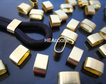 Finding - 6 pcs Gold Flat Head with Round Edge Rectangular Tubes 9mm x 5mm x 4mm ( Inside 8mm x 3mm Hole )