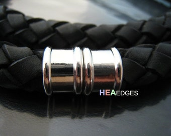 1 Set Silver Magnetic Clasp for Leather 12mm - Findings Round Large Magnetic Buckle End Clasp Clousure Fastener 20mm x 13mm