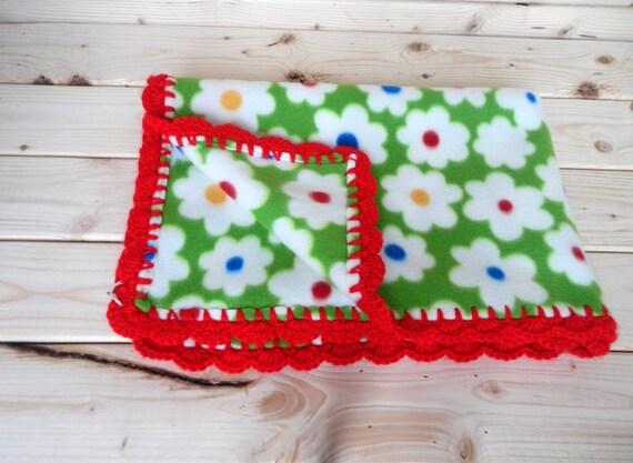 FLEECE blanket with red crochet trim, Handmade crochet edge, Ready to ship