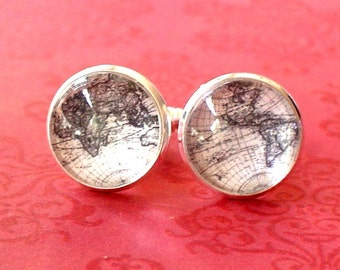 20% OFF -- 16 mm Black and white Old  world map Cuff Links ,Mens Accessories, Anchor Cufflinks,Perfect Gift Idea (BW)