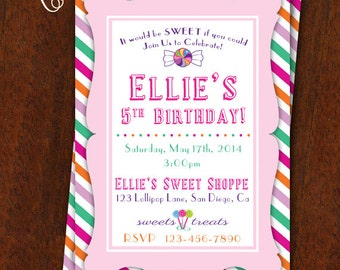 Sweet Shoppe Invitation Sweet Shop Birthday Party Printable 5x7 Baby Shower Sweet Shop