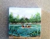 "Canoe Ride, 3"" x 3"" miniature canvas painting, Doll house miniature, Mini acrylic painting"