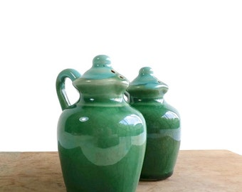 Vintage Salt & Pepper Shakers - Green Pottery Salt and Pepper - Vintage Kitchen - Country Farmhouse