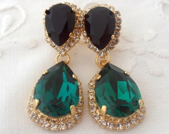 Emerald Chandelier earrings, Emerald black Chandelier earrings, Emerald bridal earrings, Drop earrings, Swarovski earrings, crystal earrings