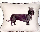 "shabby chic, feed sack, french country, vintage dachshund Queen graphic with gingham check welting 12"" x 16"" pillow sham."