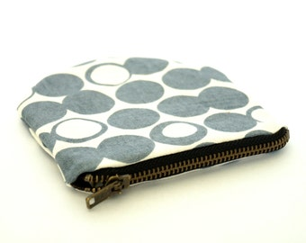 Zipper coin pouch - screen printed organic fabric in gray