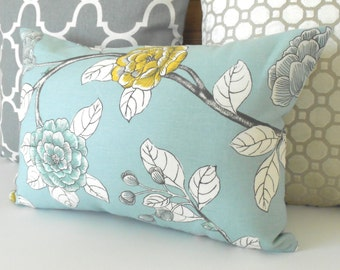 Double sided, Aqua, yellow and gray peony floral decorative pillow cover, Dwell Studio pillow