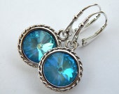 Ultra Blue Swarovski Crystal Rivoli Drop,Wedding Jewelry, Sterling Silver Dangle Earrings