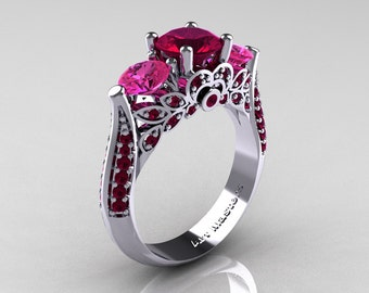 Classic 10K White Gold Three Stone Red Garnet Pink Sapphire Solitaire Ring R200-10KWGPSRG