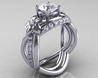 Nature Inspired 14K White Gold 1.0 Ct White Sapphire Diamond Leaf and Vine Wedding Ring Set R180S-14KWGDWS