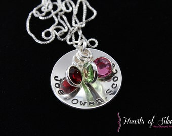 Hand Stamped Jewelry- Hand Stamped Necklace- Sterling Silver Mommy Jewelry- Sterling Silver Birthstone Necklace- Charm Necklace