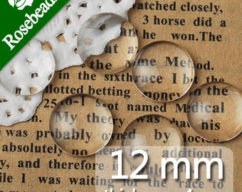 200PCS 12MM Round Flat Back clear Crystal glass Cabochon,Top quality-C1054