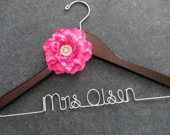 HOT PINK Wedding Hanger - Wedding Dress Hanger - Personalized Bridal Hanger - Mrs Hanger - Bride Hanger with Hot Pink Flower - Bride Gift