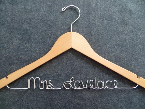 Wedding Dress Hanger, Custom Bridal Hanger, Personalized Wire Name Hanger, Mrs Hanger, Bridesmaid Gift, Shower Gift, Wedding Coat Hanger