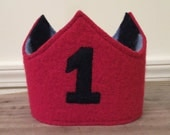 Reversible Waldorf 1st Birthday Crown Recycled Wool Sweater Star Applique