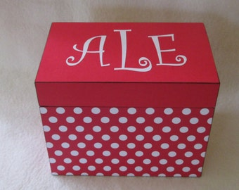 Recipe Box -  Wooden Recipe Box - Red Polka Dot -  Personalized - Wedding Gift - Shower Gift