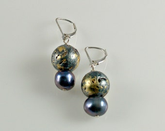 """Earrings in Freshwater Blue Grey Purple Pearls, Gold, and Sterling Silver, 23-Karat Gold Leaf on Stone Bead, 1.5"""" Dangle Lever Backs"""
