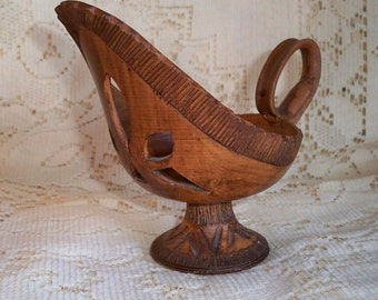 Unusual Pottery Carved  Pitcher Shaped Candleholder