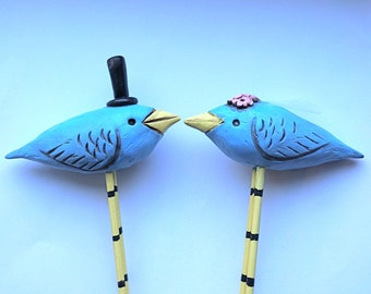 Blue  Birds In Love Rustic wedding cake topper