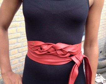 Knotted red X-long leather belt, obi belt, waist ceinture, female belt, one of a kind multi wear belt.