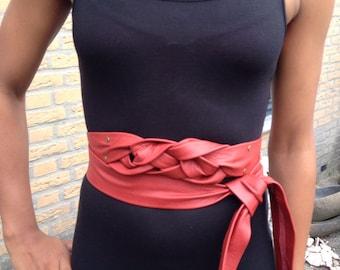 Knotted red X-long leather belt, obi belt, waist ceinture, female belt, one of a kind multi wear belt.