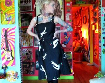Vtg 60s Malia Sun Dress / Mod Dove Print