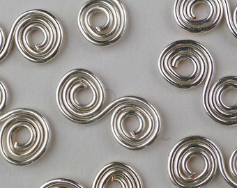 Wire spiral charms silver plated double spirals 10 pieces jewellery supplies craft supplies, 15% off sale.