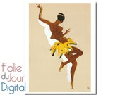 "Digital French Josephine Baker by Paul Colin advertising advertisement ephemera - 8.5 x 11"" - Instant Download"