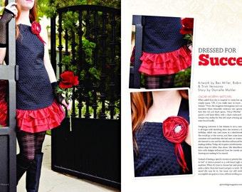 Apron in APRONOLOGY Magazine 2014, Black & Red Lamé, Cocktail COUTURE Noir, ELEGANT Evening Hostess, Classy Cook Aprons