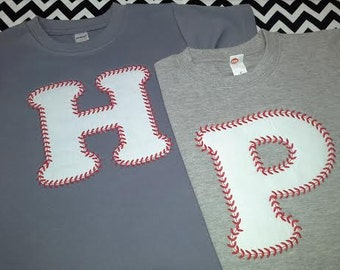 Appliqued Baseball Font Letters On Short Sleeve Crew Neck