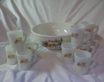 Vintage McKee Sleigh Ride Tom & Jerry Bowl and 10 Cups Free Shipping