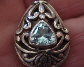 Exquisite Double Sided Celtic Artisians Design Faceted Blue Topaz Triangle Sterling Silver
