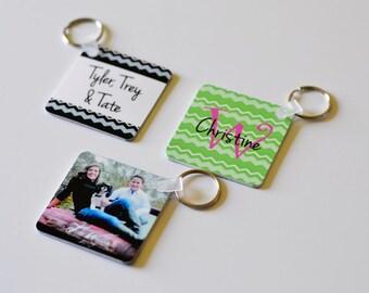 3 Custom photo keychain- personalized purse tag, stocking stuffer, holiday gifts, monogrammed keychain, photo/text keychain, unisex gifts