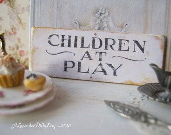Children Play Sign/Print for Dollhouse