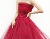 Tulle Skirt Tea length Tutu Skirt Elastic Waist tulle tutu Princess Skirt Wedding Skirt in Cherry - NC508