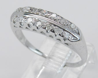 REDUCED Antique Diamond Wedding Ring Anniversary Band Vintage 14K White Gold Size 7.25