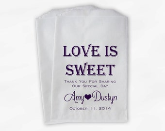 Love Is Sweet Wedding Candy Buffet Treat Bags - Personalized Favor Bags in Dark Purple Monotone - Custom Paper Bags (0069)