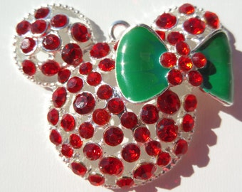 48mm, Christmas Minnie Mouse Inspired Pendant