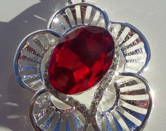 SaLE!! 35mm Ruby and Silver Flower Rhinestone Pendant, P39