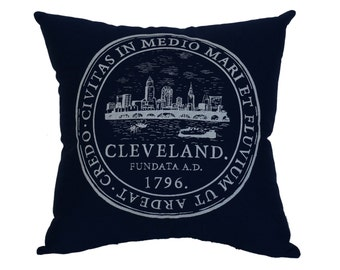 Cleveland City Seal Navy Blue Throw Pillow - 12.5'' x 12.5''