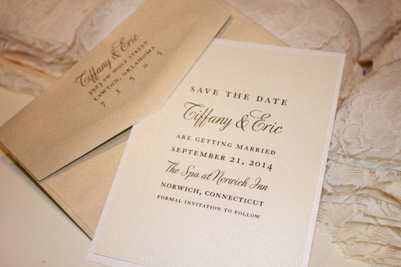 Classic Save The Date: soft. neutral. ivory. cream. champagne. metallic. elegant. beautiful. simple. classy.