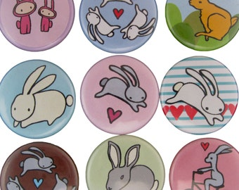 Bunny Love - Pick your 4 Rabbit Pinback Buttons - Easter Pins - Pet Bunny Pins