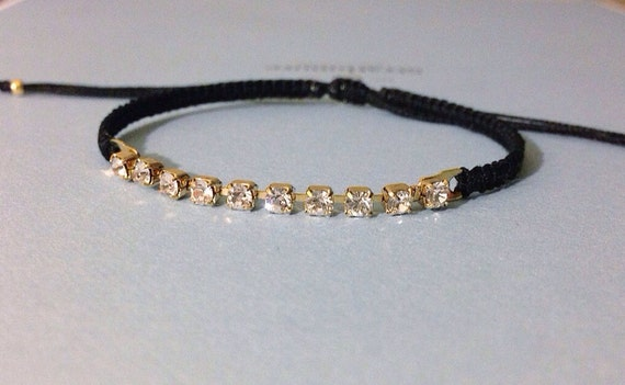 dainty Swarovski crystal chain link layering friendship bracelet. winston