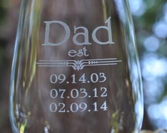 DAD Est Crystal Beer Glass with Childrens Birthdates