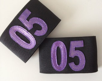Numbered Elastic Arm Bands - Custom colours and size - Roller Derby